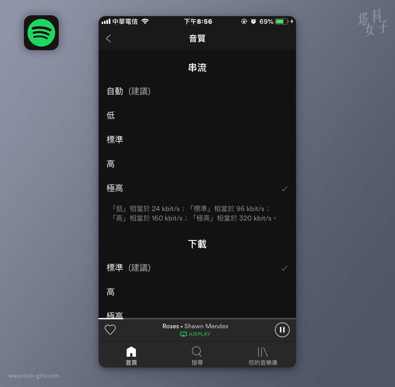 更改Spotify音質