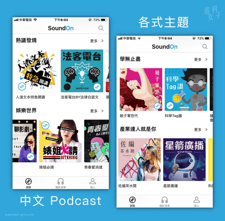 Podcast 中文平台 - SoundOn 聲浪 : 各式主題