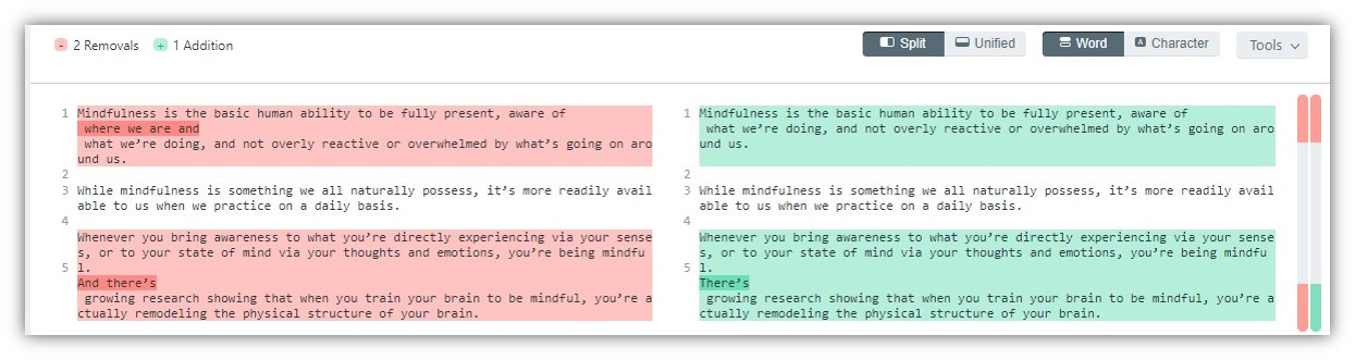 文本比對工具 Diffchecker 幫你比較兩段文字、程式碼的差異