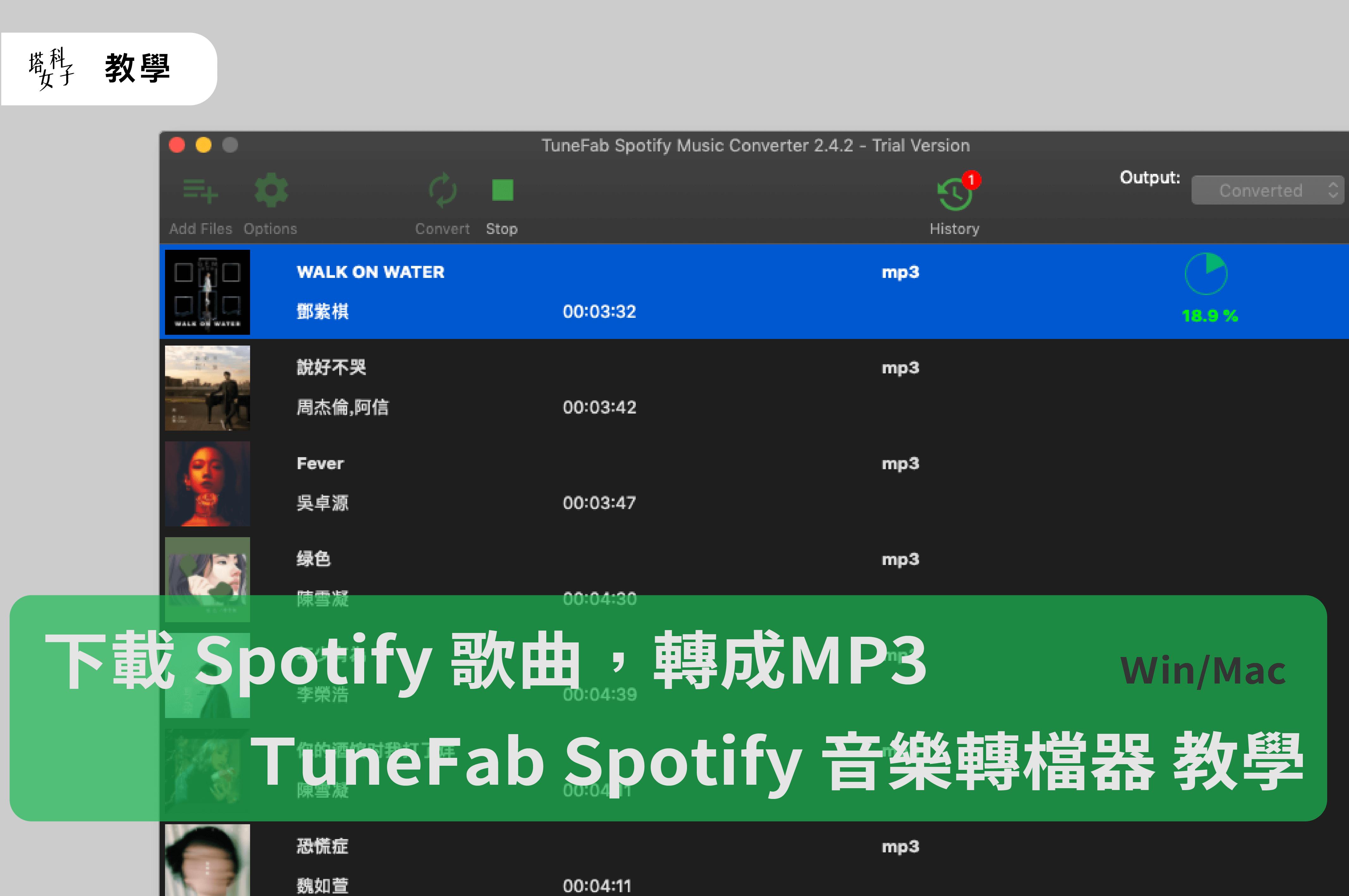 下載 Spotify 歌曲,TuneFab Spotify 音樂轉檔器