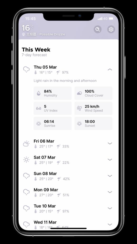 最美的天氣 App - Overdrop - 七天天氣預報