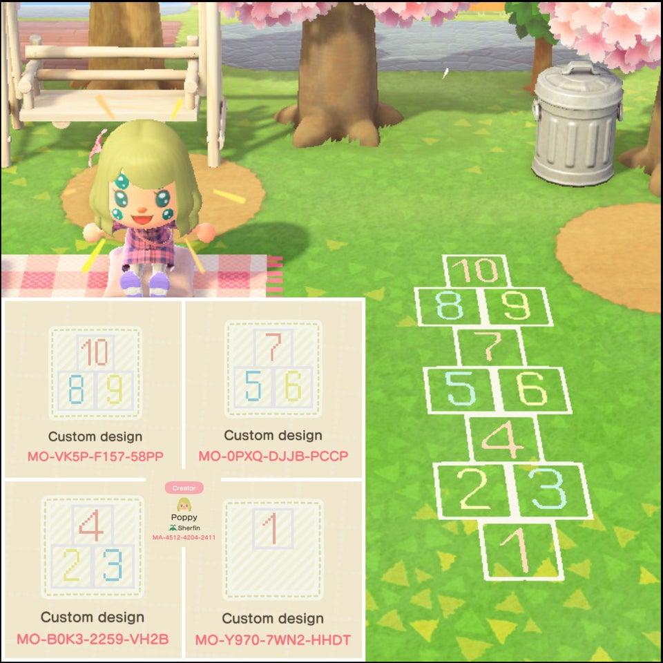 動森地板 QR Code 及作品 ID:跳格子