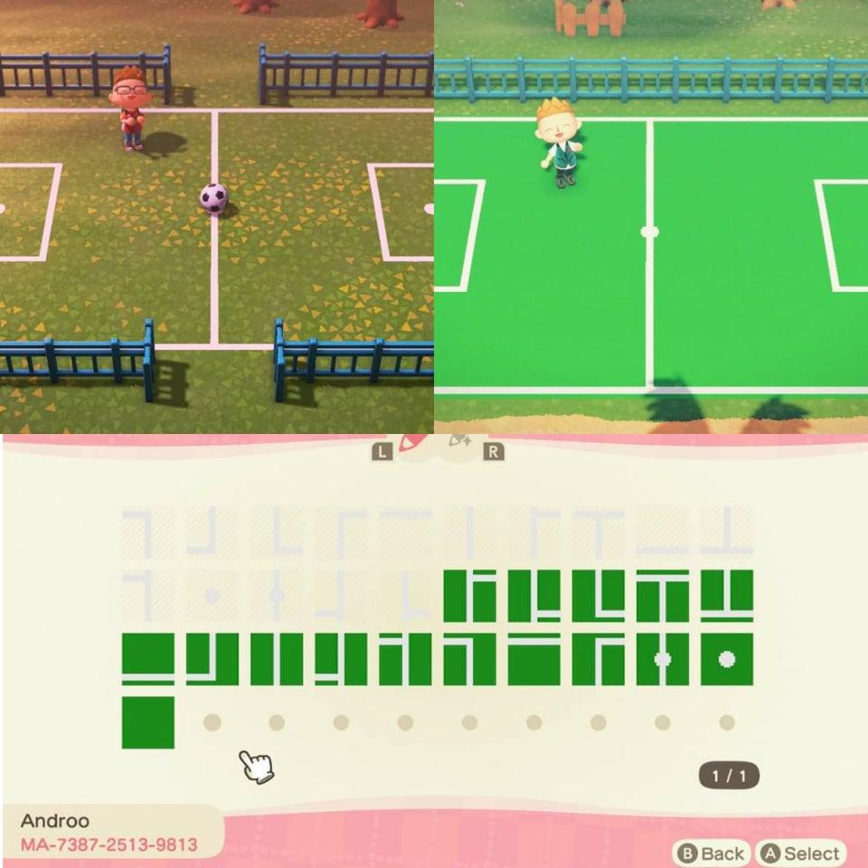動森地板 QR Code 及作品 ID:足球場