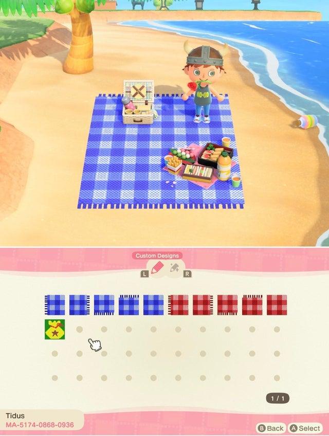 動森地板 QR Code 及作品 ID:野餐墊